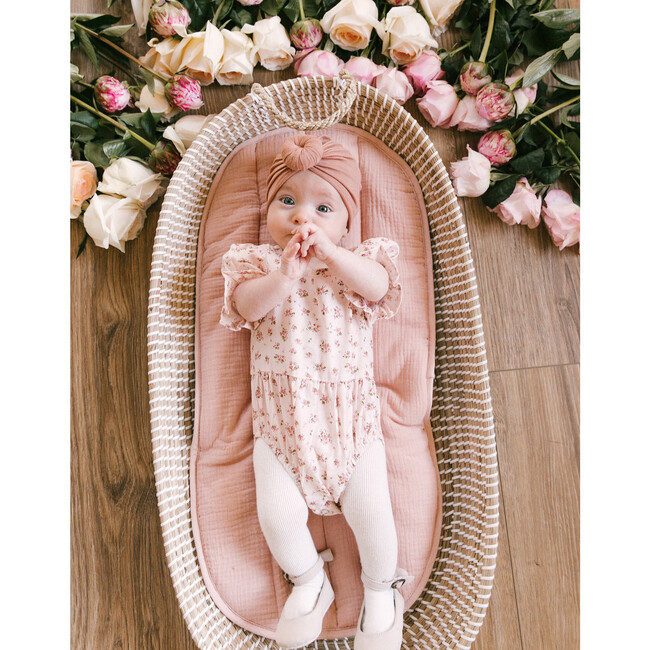Baby Madeline Onesie, Pink and Green Floral