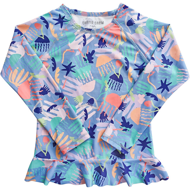 Sea & Snow Long Sleeve Frill Top, Jellyscape