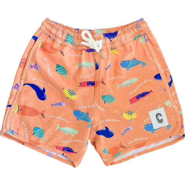 Quick Dry Beach Short, Bye Bye Plastic Orange