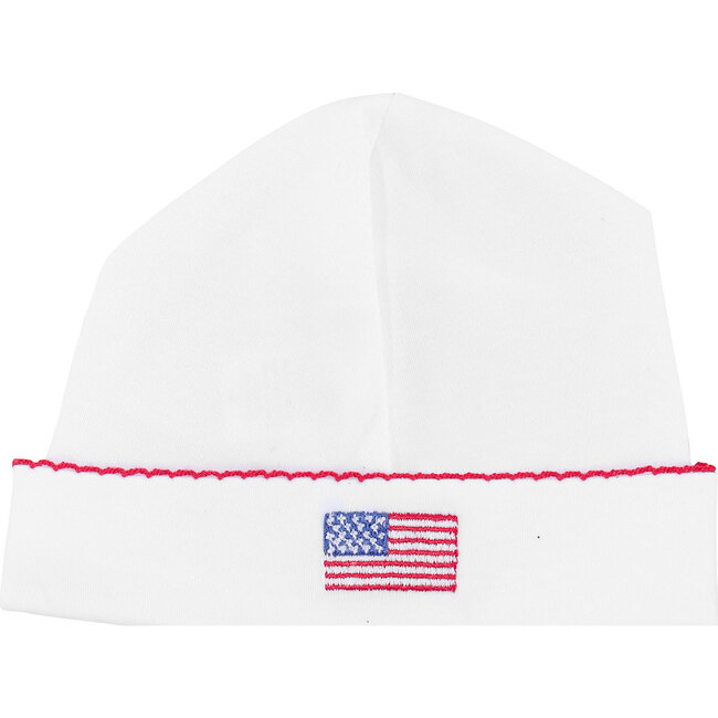 American Flag Embroidered Receiving Hat