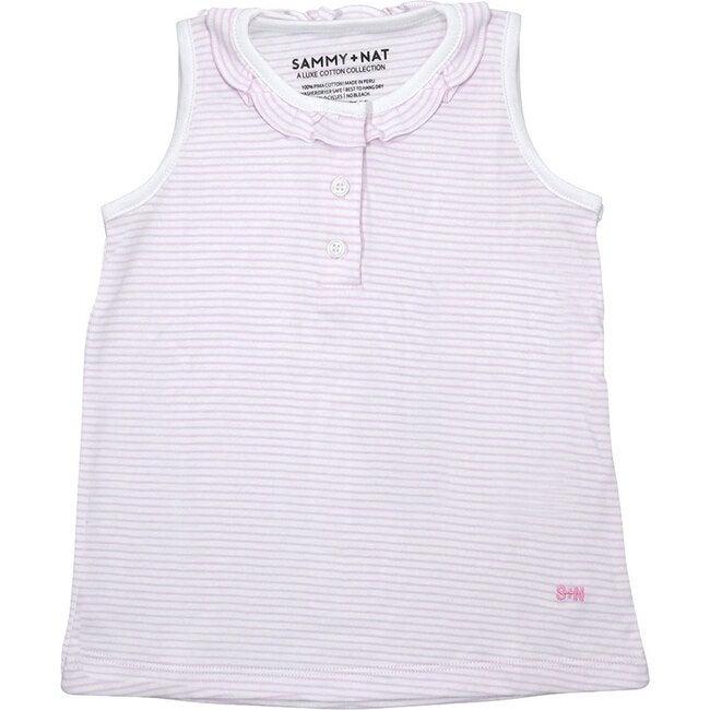 Pink Stripe Ruffle Collar Tank