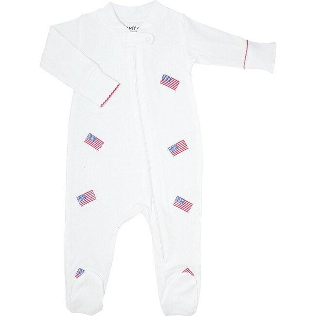 American Flag Embroidered Zipper Romper