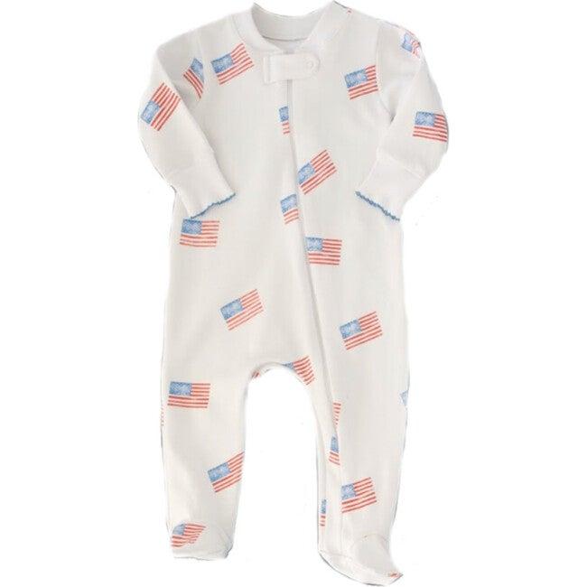 American Flag Zipper Romper