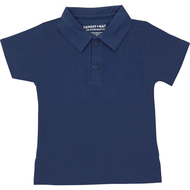 Solid Navy Short Sleeve Polo Tee
