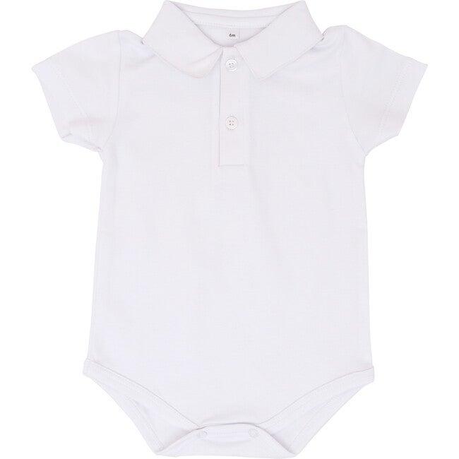 White Short Sleeve Polo Onesie