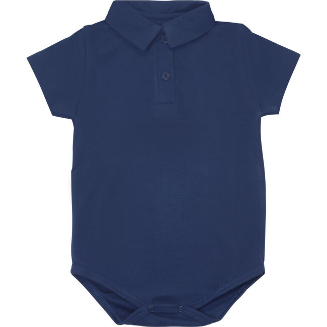 Solid Navy Short Sleeve Polo Onesie
