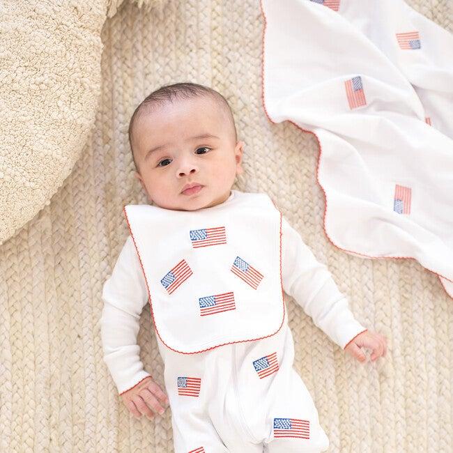American Flag Embroidered Bib