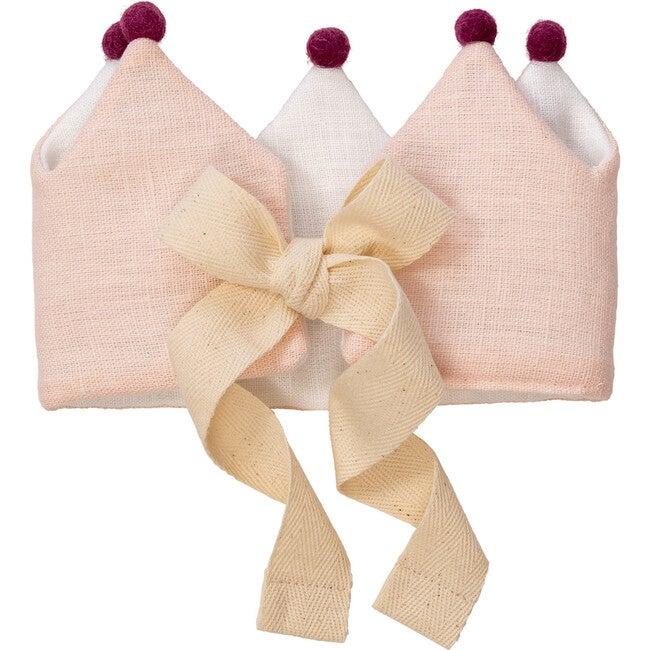 Soft Pink Linen Crown, Singular Colored Pom Poms