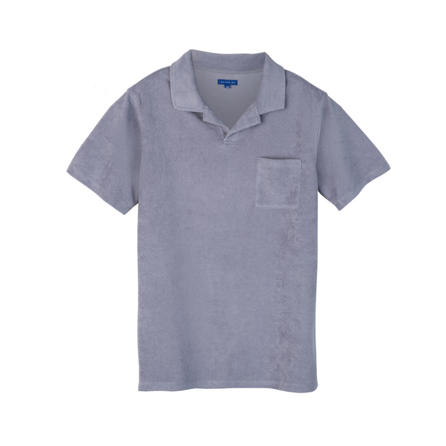 Cyrus Men's Terry Polo, Dusty Blue