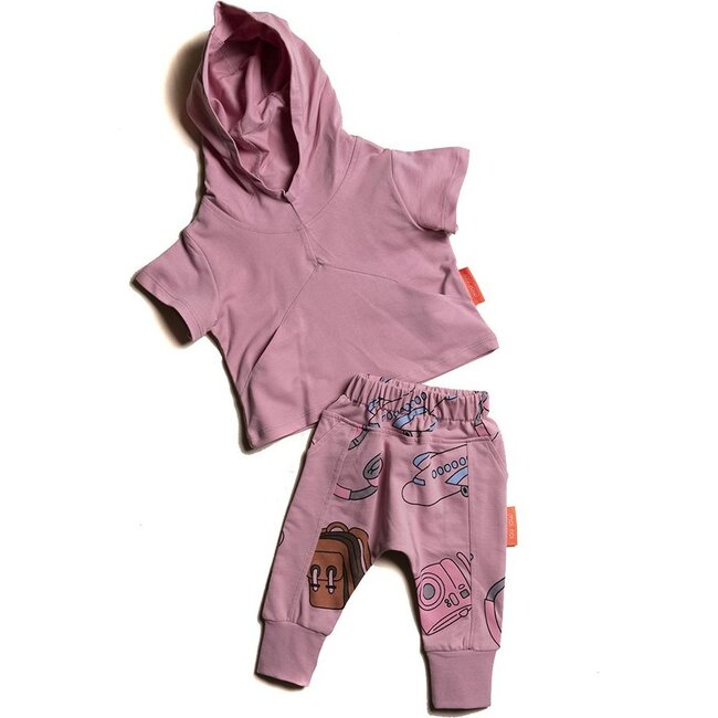 Travel Hooded Outfit, Mauve