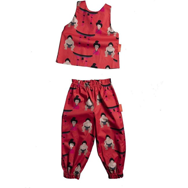 Sumo Tank Top Outfit Set, Red