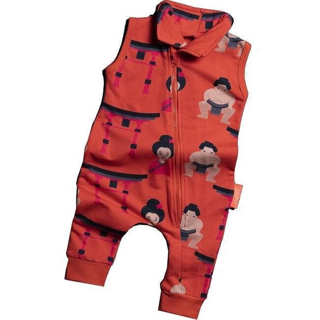 Sumo Diagonal Zip Jumpsuit, Red
