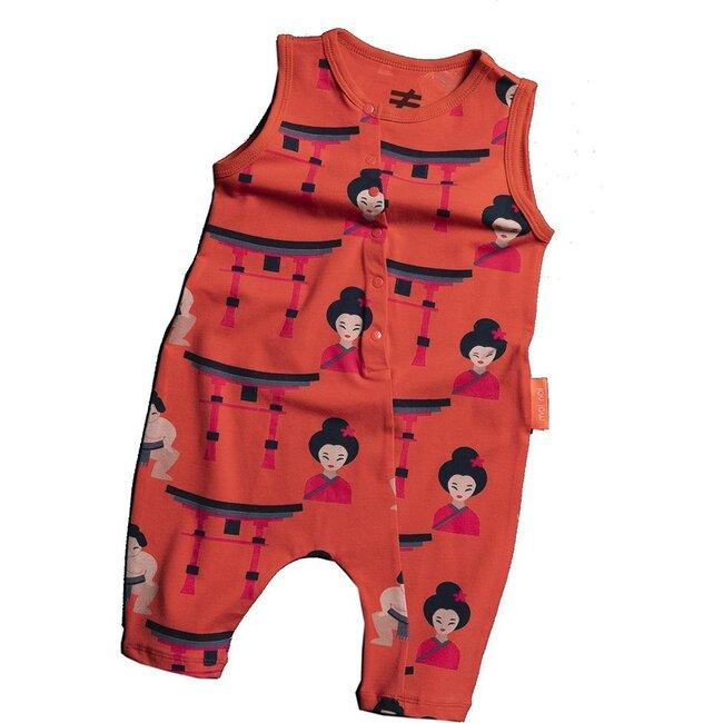 Sumo Button Jumpsuit, Red