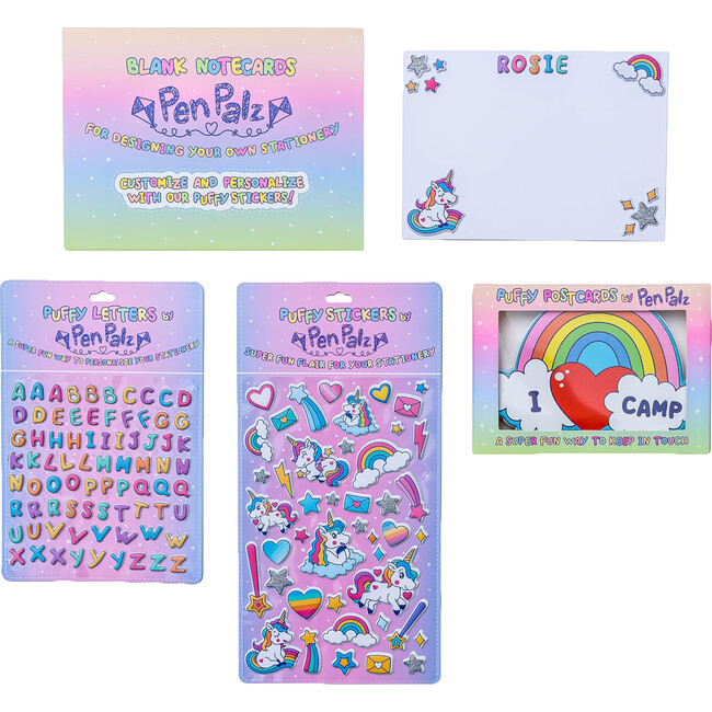 'Love From Camp' Puffy Stationery Bundle, Pink (Box Set of 3 Puffy Postcards)