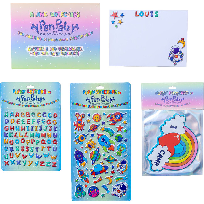 'Love From Camp' Puffy Stationery Bundle, Blue