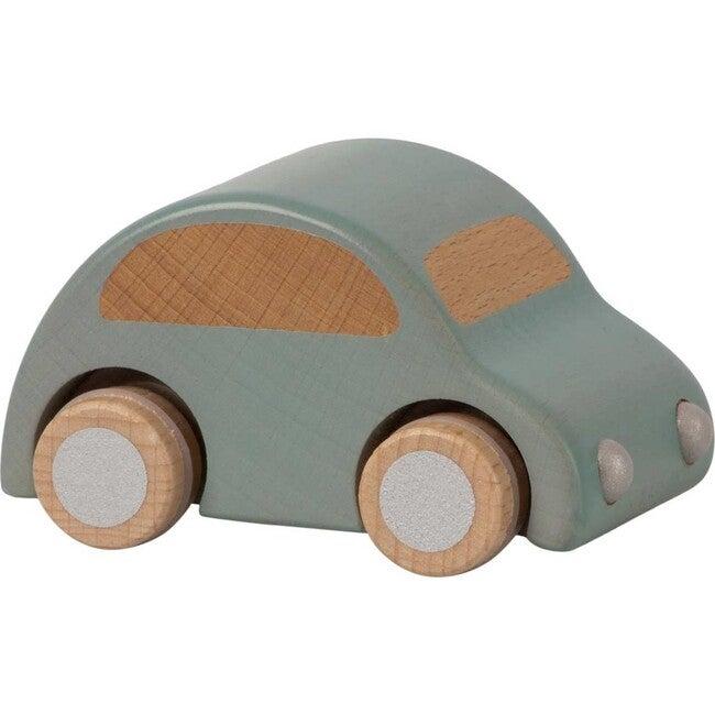Wooden Pull Back Car, Light Blue - Transportation - 1