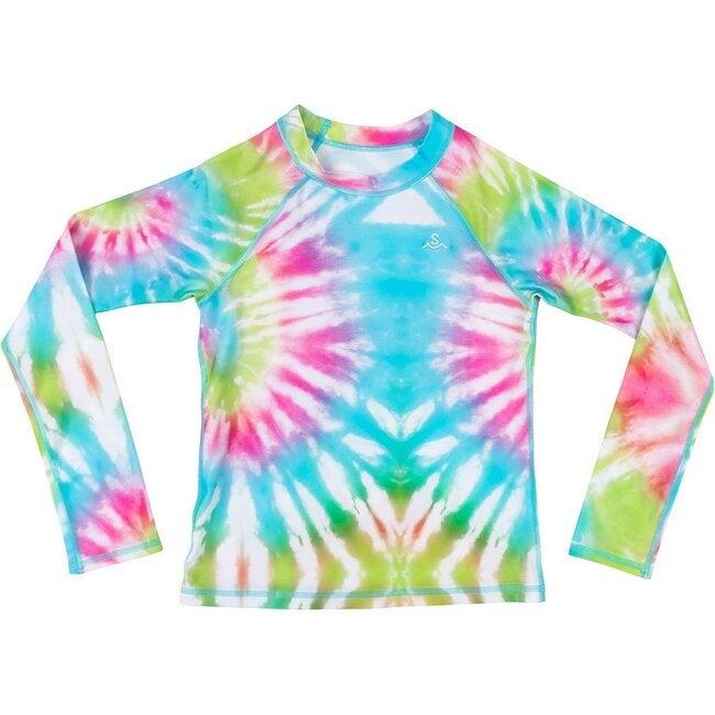Kids Rashguard, Sea Ripple Neon Pastel Tie Dye