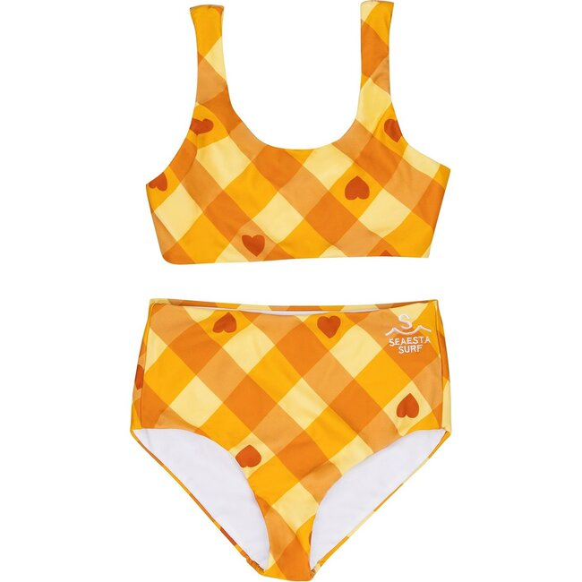 Seaside Gingham, Sunset Hearts Two Piece Swimsuit