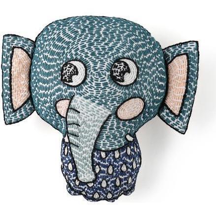 Handmade Kantha Stitched Bedtime Buddy, Elli the Elephant