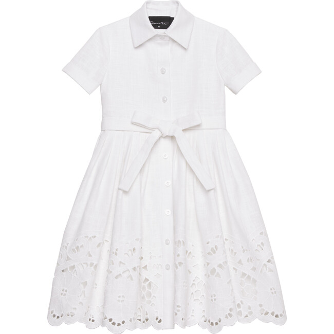White Lace Collared Dress, White