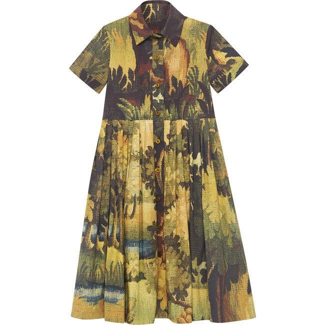 Landscape Collared Dress, Hunter
