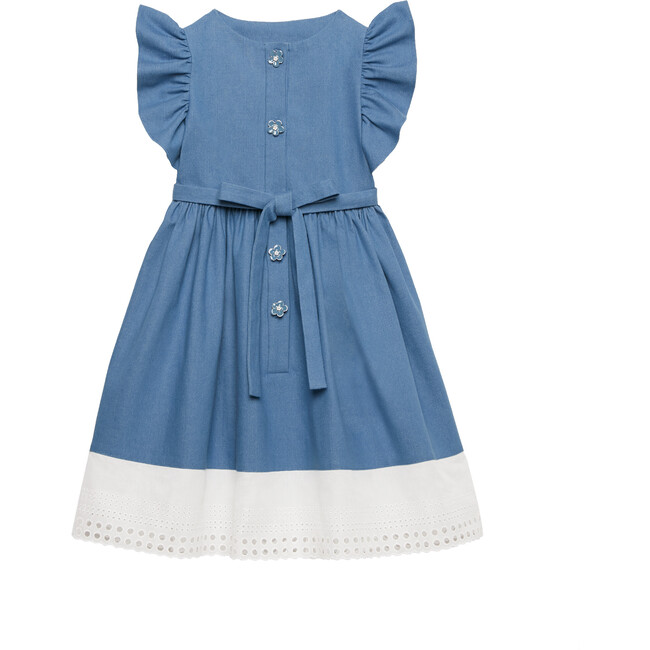 Ruffle Denim Dress, Blue