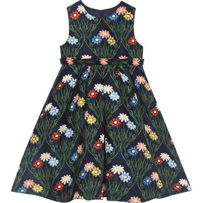 Daisy Jacquard Dress, Navy