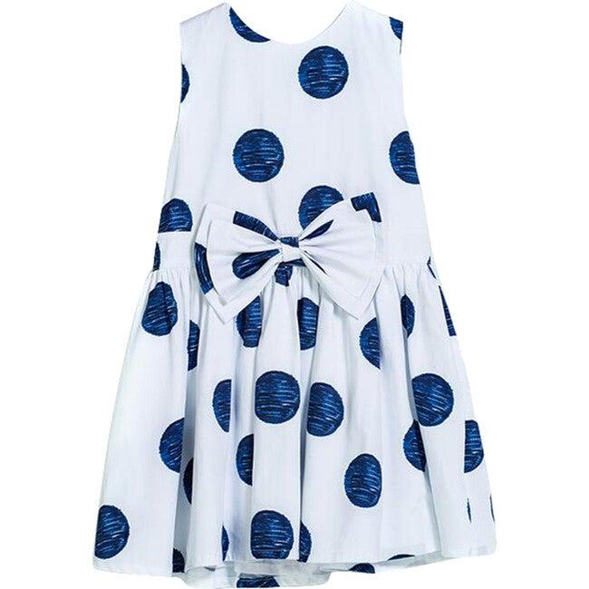 Polka Dot Chiffon Dress, White