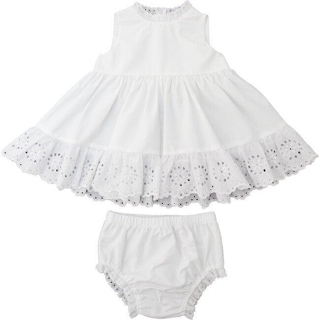 Caroline Dress, White Cotton Poplin