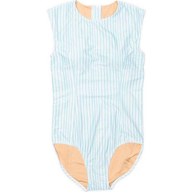 Women's Michaela Sleeveless One Piece Swimsuit, Sea Glass Stripe