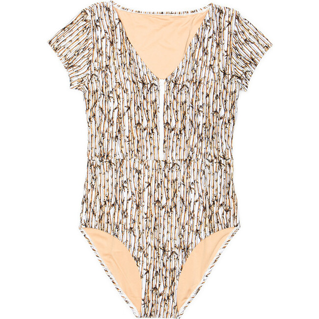 Women's Madeline Short Sleeve V-Neck One Piece Swimsuit, Bamboo Forest - One Pieces - 1