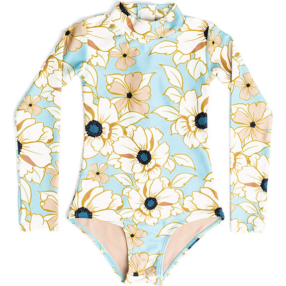Mini Kelly Girls LS One Piece Swimsuit, Eden Rose
