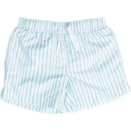 Mini Major Boys Boardshort, Sea Glass Stripe - Swim Trunks - 1