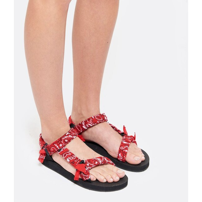 Women's Trekky Sandals, Red Bandana