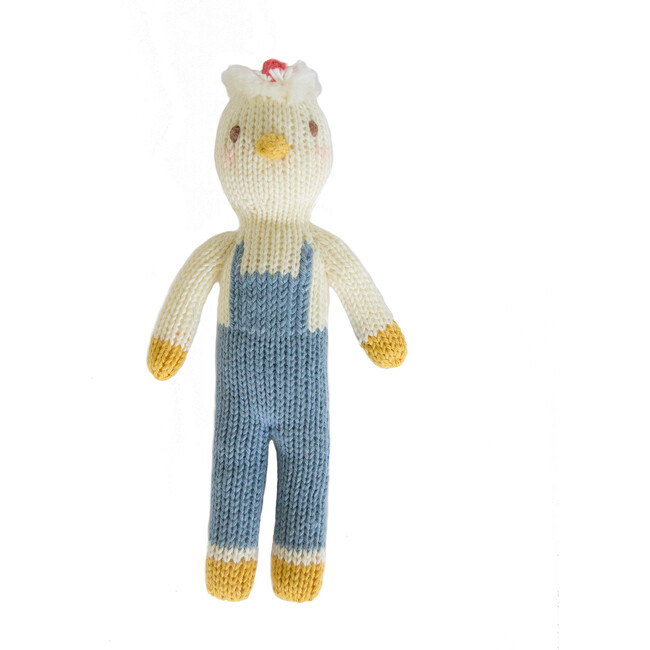 Benedict the Chicken Knit Rattle, White/Blue