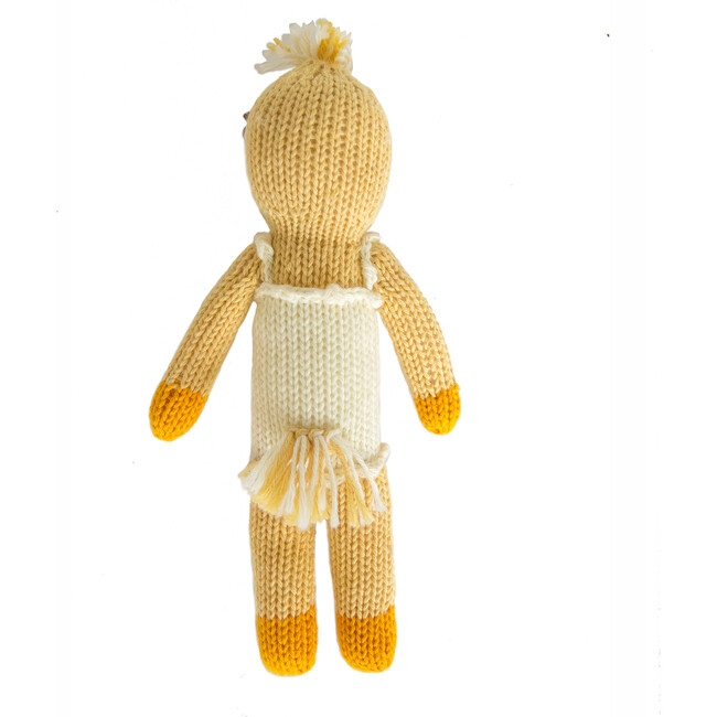 Lucille the Duck Knit Rattle, Yellow/White