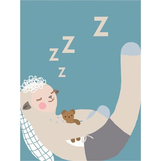 Sleepy Wooly Art Print, Blue - Art - 1