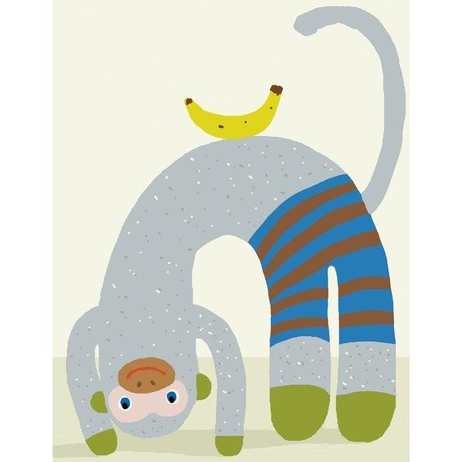 Mozart the Monkey Balance Art Print, Grey