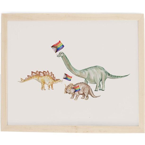 Dino Pride Art Print, Natural Frame