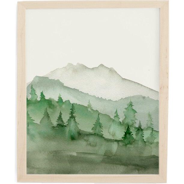 Green Mountain Art Print, Natural Frame