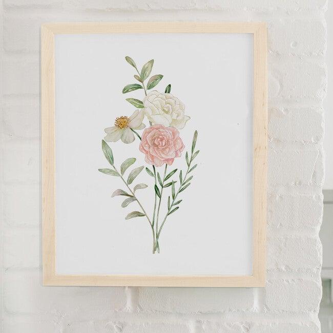 Floral Burst #1 Art Print, Natrual Frame
