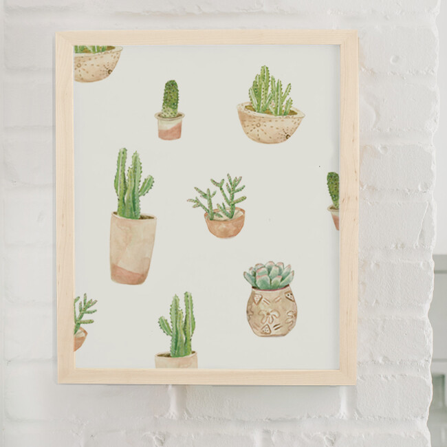 Succulent Art Print, Natural Frame