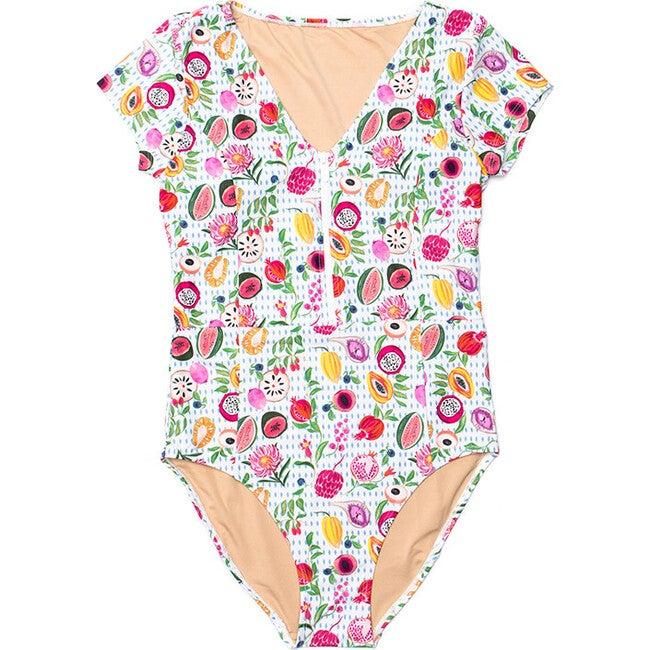 Women's Madeline Short Sleeve V-Neck One Piece Swimsuit, Fresco Crush