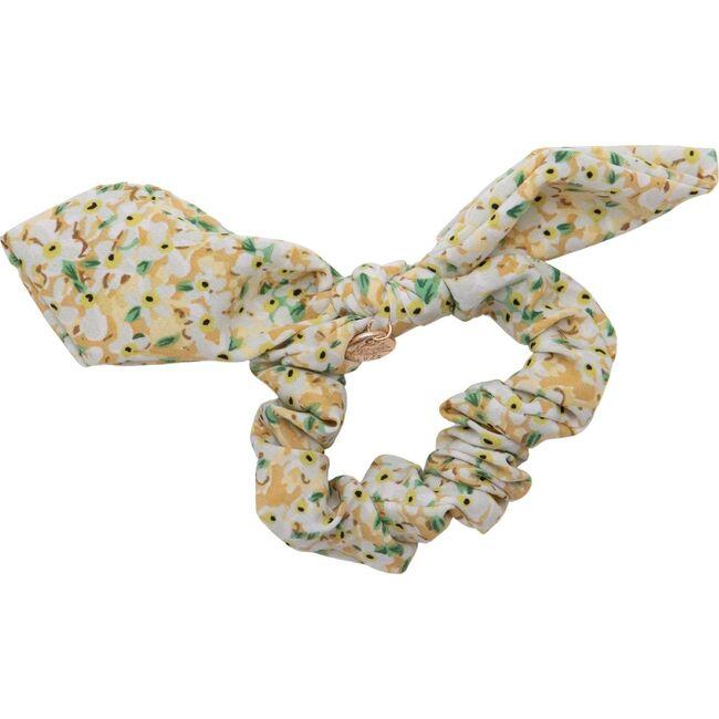 Lily Floral Print Bow Scrunchie, Tan Print