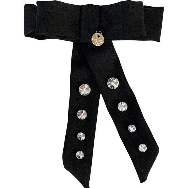 Isabella Embellished Bow Clip, Black