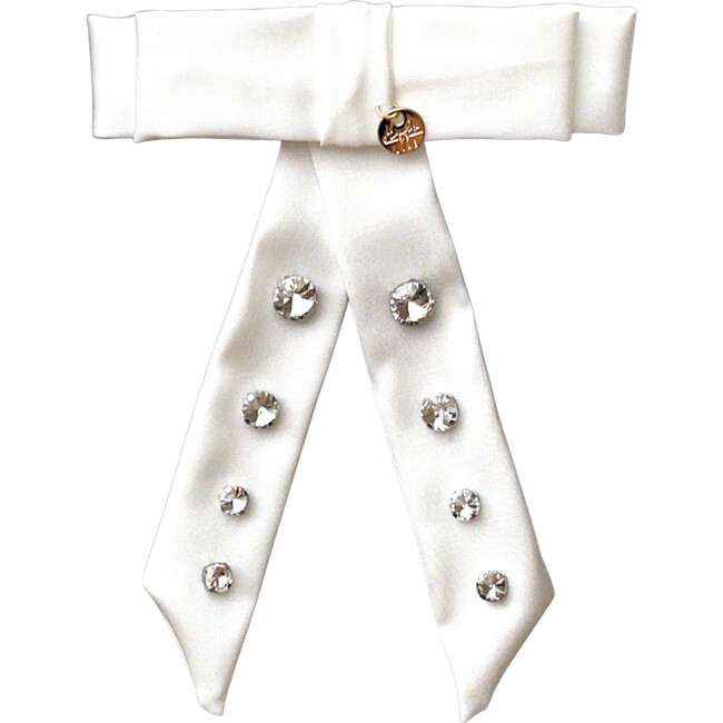 Isabella Embellished Bow Clip, White - Hair Accessories - 1