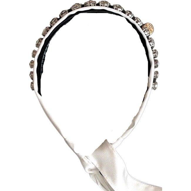 Isabella Embellished Tie Back Headband, White