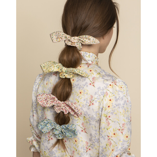 Lily Floral Print Bow Scrunchie, Rose Print