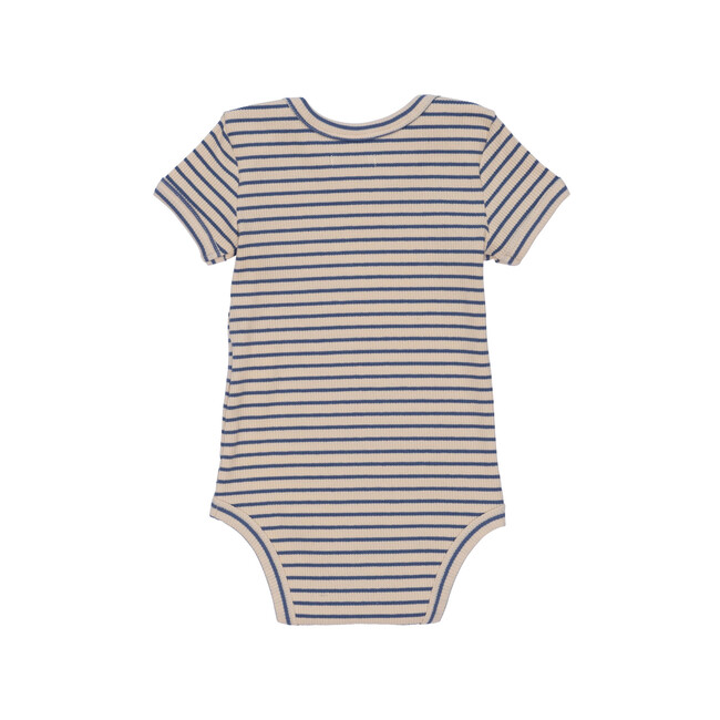 Perry Short Sleeve Bodysuit, Blue & Natural Stripe