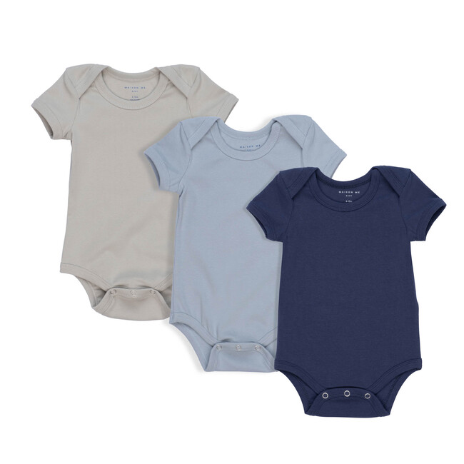 Perry Short Sleeve Bodysuit Trio, Blue Multi